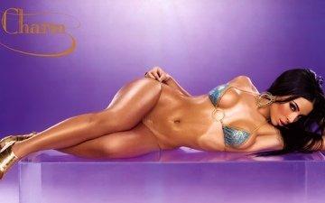 brunette, look, chest, figure, curves, body, bra, bikini, lying