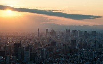 солнце, закат, япония, небоскребы, здания, токио, shinjuku, tokyo skytree
