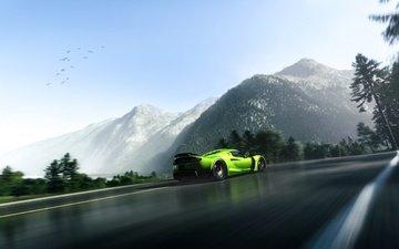 дорога, горы, зелёный, пейзаж, асфальт, суперкар, веном