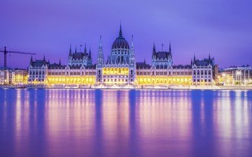 the evening, river, reflection, illumination, hungary, budapest, the parliament building, the danube