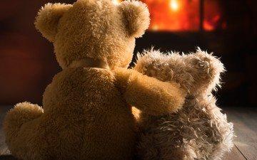 мишки, любовь, пара, игрушки