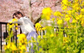 цветы, девушка, спит, ограда