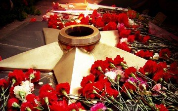 flowers, star, victory day, may 9, eternal flame