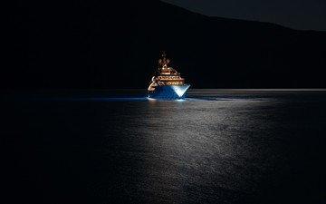 ночь, огни, море, яхта, мега-яхта, супер-яхта