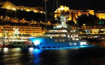 ночь, огни, город, яхта, монако, монте-карло