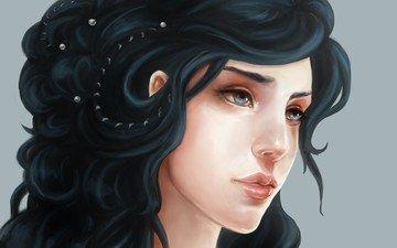арт, девушка, брюнетка, голубые глаза, жемчуг