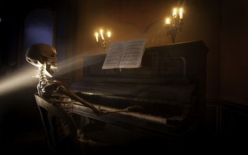 музыка, пианино, скелет