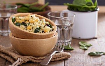 кукуруза, рис, блюдо, шпинат
