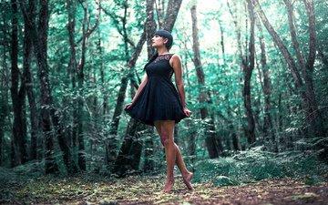 лес, девушка, платье