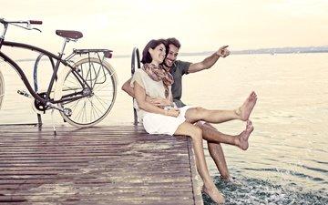 пирс, любовь, отношения, пара, велосипед
