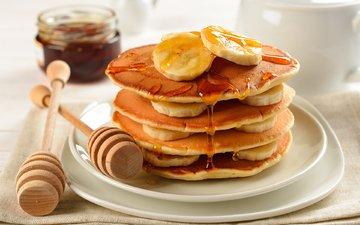 сладкое, мед, банан, блинчики, блины, слои, сладенько, strata