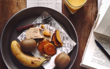 еда, фрукты, киви, банан