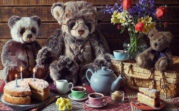 мишки, чаепитие, день рождения, пикник, день рожденья, маленького теда