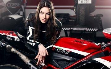 красный, красота, волосы, губы, лицо, мотоцикл, дукати, katharina, кат девушка