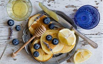 лаванда, лимон, ягоды, черника, стаканы, нож, оладьи, anna verdina
