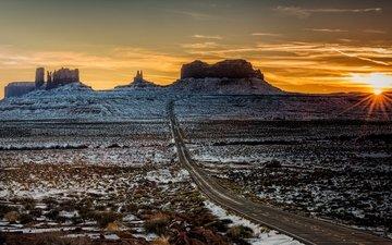 дорога, горы, солнце, пейзаж, утро, сша, юта, штат юта, долина монументов