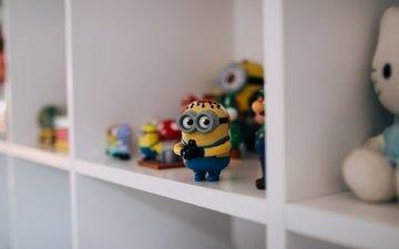 глаза, желтый, очки, игрушки, миньон, полка