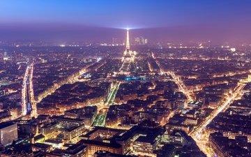 ночь, горизонт, париж, архитектура, здания, франция, городской пейзаж
