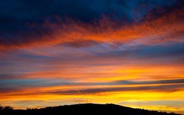 небо, облака, закат, горизонт