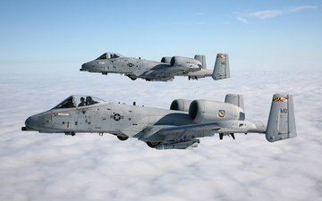 the sky, clouds, pair, a-10, stormtroopers, thunderbolt ii