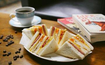 зерна, кофе, книги, блюдо, сэндвич