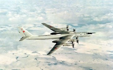 the sky, art, the plane, soviet, tu-95, turboprop