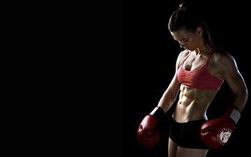 девушка, спорт, бокс, боксерские перчатки