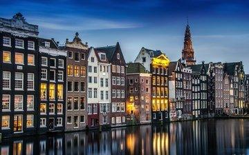 огни, вода, канал, дома, выдержка, нидерланды, амстердам