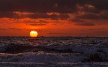 солнце, волны, море, пляж, горизонт, рассвет