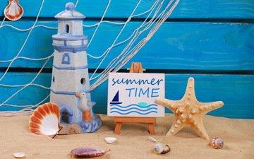 песок, пляж, маяк, лето, ракушки, отдых, морская звезда, натюрморт, marine, песка, каникулы, летнее