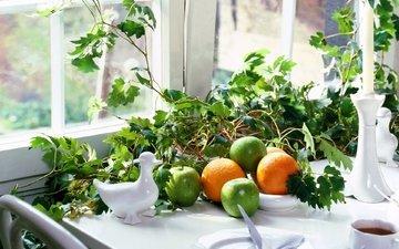 цветок, фрукты, яблоки, апельсины, стол, фигурки, растение, свеча, натюрморт, сервиз