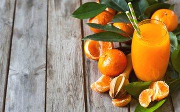 фрукты, апельсины, стакан, мандарины, цитрусы, трубочки, сок, фреш