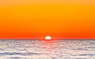 небо, солнце, закат, море, зарево