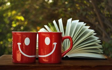 figure, smile, red, book, cup, page