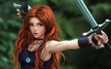 girl, warrior, sword, look, red, medallion, face