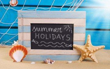 песок, пляж, лето, ракушки, отдых, морская звезда, натюрморт, морской