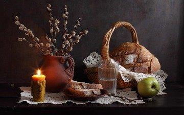 ветви, воды, весна, хлеб, корзина, яблоко, свеча, стакан, салфетка, ива, натюрморт, сережки, вербное воскресенье, керамический кувшин, natalie panga