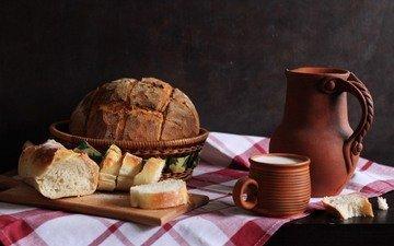 кружка, хлеб, багет, молоко, кувшин, выпечка, натюрморт