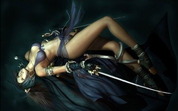 девушка, змея, грудь, мечи, шелк