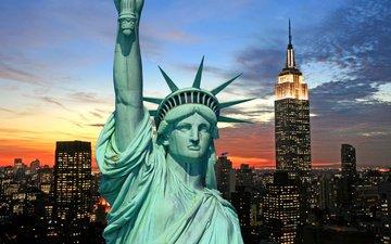 ночь, огни, горизонт, город, сша, нью-йорк, статуя свободы