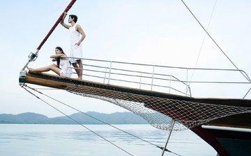 девушка, море, парень, яхта, отдых, курорт, мужчина, женщина, катер