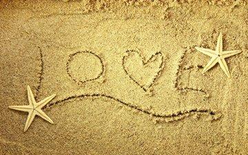 песок, слова, сердце, любовь, морская звезда