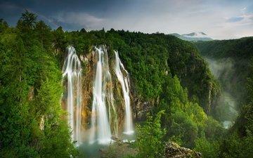 река, горы, лес, водопад, радуга, ущелье