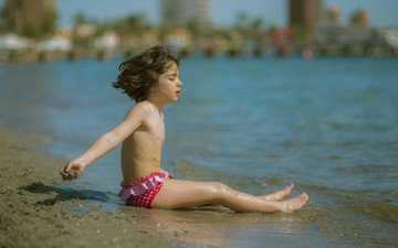 mood, sea, beach, children, girl, child