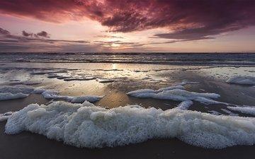 небо, волны, закат, пейзаж, море, горизонт