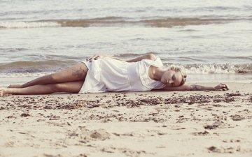 girl, sea, blonde, sand, beach, the situation, tattoo