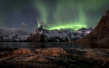 горы, море, северное сияние, норвегия, aurora borealis, норвегии, лофотенские острова, норвежское море, lofoten islands