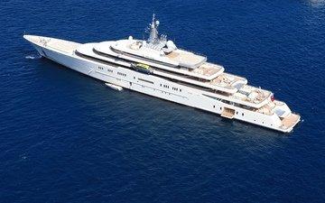 яхта, затмение, белая, катер, мега, море., моторная