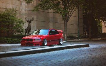 красная, авто, краcный, тюнинг, бмв, e36