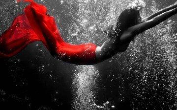 девушка, рыбки, пузыри, под водой, в красном